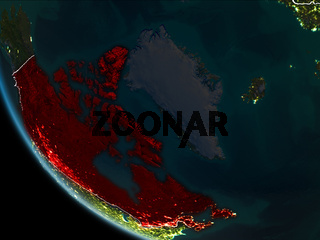 Satellite view of Canada at night