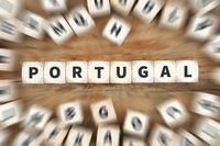 Portugal Land Reise Reisen Würfel Business Konzept