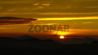Sunrise landscape over the Adams peak aka Sri-Pada. Sri-Lanka