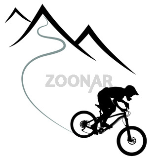 Bike race on a mountain slope -- silhouette