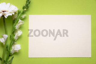 White flowers and message card