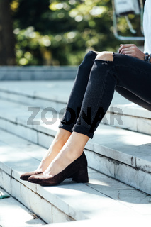town and legs of woman