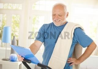 Happy senior man in sportswear