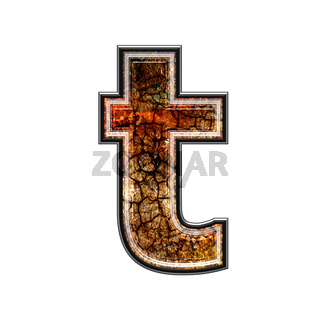 3d letter with grunge texture - T