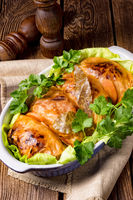 baked cabbage rolls in tomato sauce
