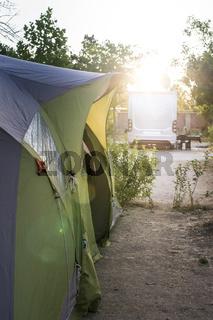 Camper in campsite