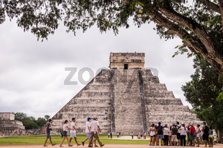 Tourists at Chichen Itza, Yucatan, Mexico