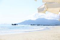 Boats on the Zoklet beach. Vietnam landscape.