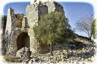 Remnants of Crusader castle in Israel