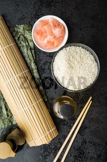 The sushi ingredients.