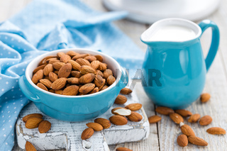 Fresh almond milk and nuts, vegan drink