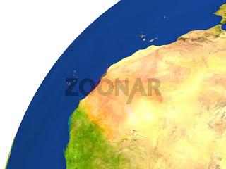 Country of Mauritania satellite view