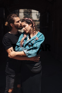 Young man and woman on the stree
