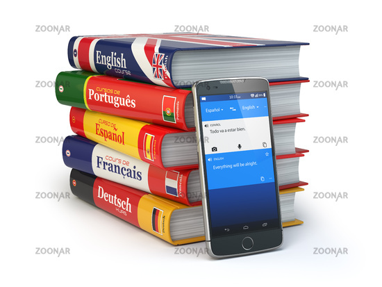 E-learning. Mobile dictionary. Learning languages online. Smartphone with books.