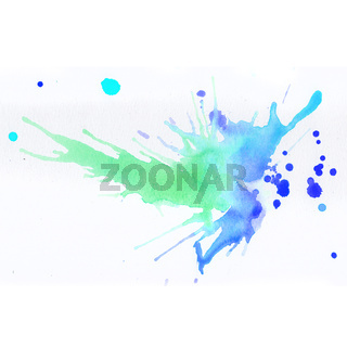 Colorful watercolor splashes over white background