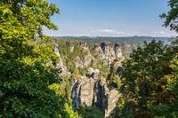 Elbsandsteingebirge sächsiche Schweiz Blick auf die Felslandschaft