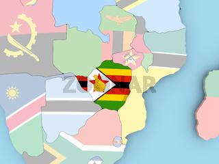 Map of Zimbabwe with flag on globe