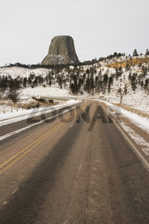 Road Entrance Devils Tower Wyoming Winter Snow