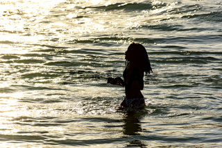 Girl silhuete at sunset