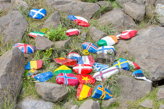Painted pebbles with flags