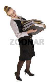 Junge Managerin, Sekretärin mit Akten