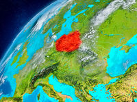 Space view of Poland in red