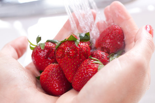 Woman Washing Strawberries in the Kitchen Sink.