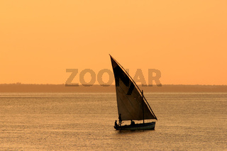 Mozambican dhow at sunset