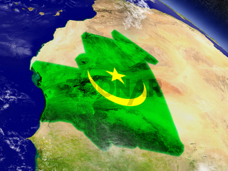 Mauritania with embedded flag on Earth