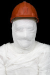 Bandaged worker in helmet