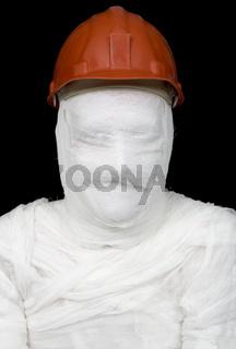 Bandaged worker in helmet