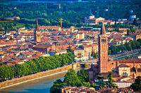 Ciy of Verona and Adige river aerial view