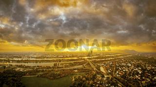 beautiful sunset over Vienna