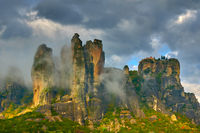 Rocks in Meteora in bad weather