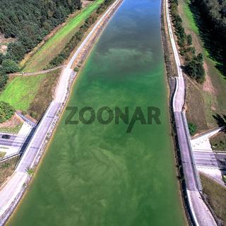 Aerial photo a canal bridge over a street