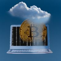 Illustration of cloud computing and bitcoin