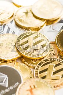 Various digital cryptocurrency.