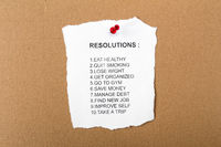 List of resolutions pinned to a notice board