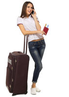 Young travelling woman isolated on white