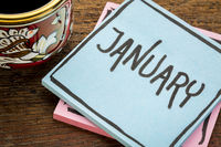 January, reminder note with coffee