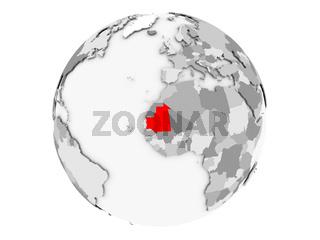 Mauritania on grey globe isolated