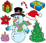 Collection of Christmas images - isolated illustration.