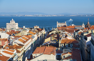 Tejo river as seen from the observation platform of Santa Justa Lift. Lisbon. Portugal