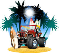 Vector cartoon 4x4 car on beach