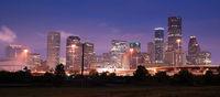 Night Panoramic Composition Downtown City Urban Skyline Houston Texas