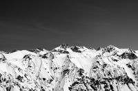 Black and white snow covered mountains