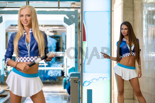 Photo of pretty models advertise new car wash