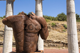Metallic headless statue in the ancient Greek city of Messinia, Greece