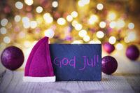 Plate, Santa Hat, Lights, God Jul Means Merry Christmas
