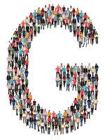 Buchstabe G Alphabet Leute Menschen People Gruppe Menschengruppe